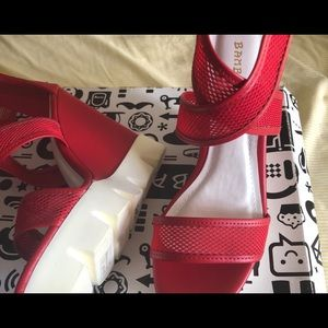 Brand new no tags never worn red bamboo wedges